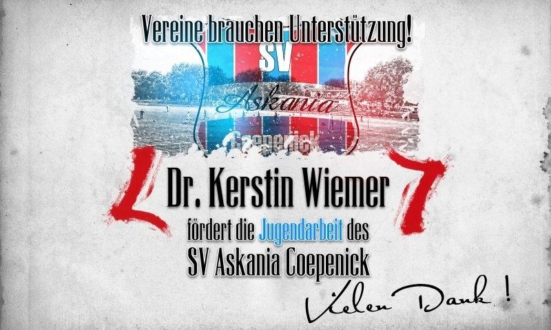 Sponsorenzertifikat - Dr. Kerstin Wiemer - 1.D-Jugend 2015