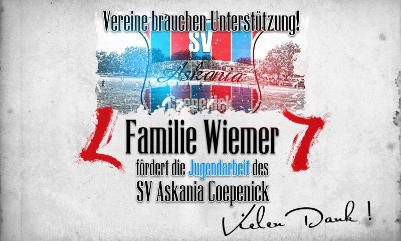 Sponsorenzertifikat – Familie Wiemer – Verein allgemein 2015