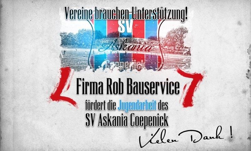 Sponsorenzertifikat - Firma Rob Bauservice - 2.D-Jugend 2015