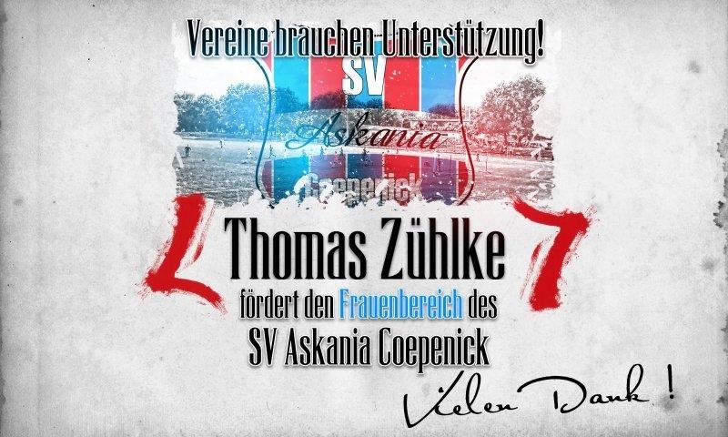Sponsorenzertifikat – Thomas Zühlke – Frauenbereich 2014