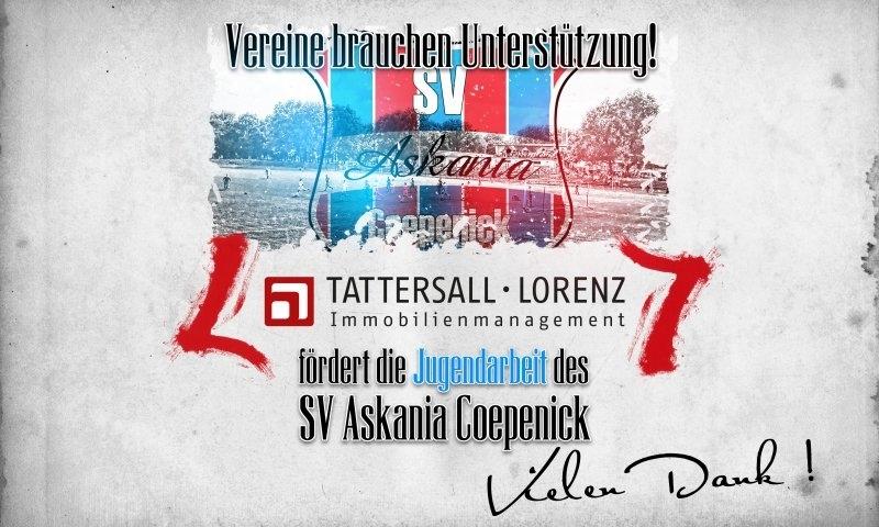 Sponsorenzertifikat – TATTERSALL·LORENZ | Immobilienverwaltung – 1.E-Jugend 2015